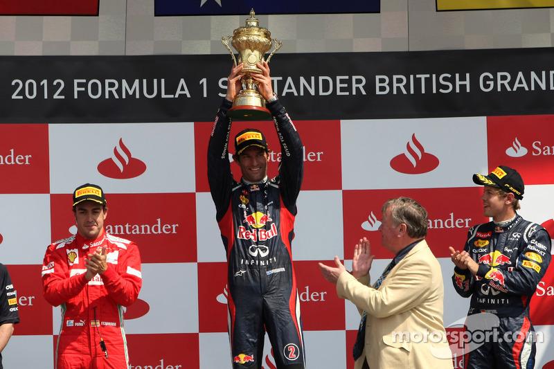 2012 - 1. Mark Webber, 2. Fernando Alonso, 3. Sebastian Vettel