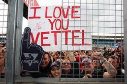 Fans and a banner for Sebastian Vettel, Red Bull Racing