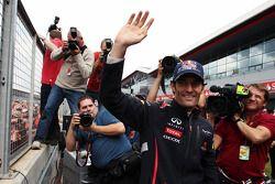 Race winner Mark Webber, Red Bull Racing celebrates after the race