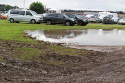 Muddy car parks