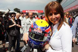 Carol Vordermann, TV Presenter with the helmet of race winner Mark Webber, Red Bull Racing