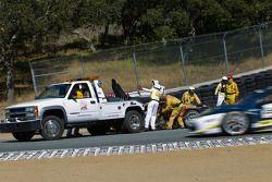 Safety crew removing Ryan Oakey's 458 Itallia