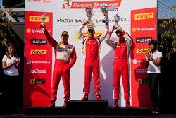 458 TP podium: first place Alex Popow, second place Onofrio Triarsi, third place Enzo Potolicchio