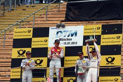 Podium: second place Jamie Green, Team HWA AMG Mercedes, AMG Mercedes, first place Mattias Ekström,