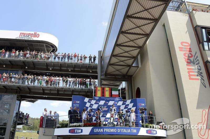 Podio: 1º Jorge Lorenzo, 2º Dani Pedrosa, 3º Andrea Dovizioso