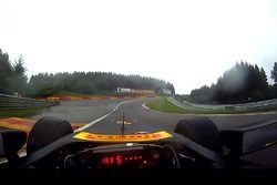 Lucas di Grassi during an installation lap in the rain - driver's point of view
