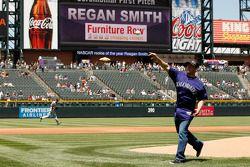 Regan Smith, Furniture Row Chevrolet gooit de bal bij een Colorado Rockies baseballwedstrijd