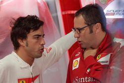 Fernando Alonso, Scuderia Ferrari with Stefano Domenicali, Scuderia Ferrari Sporting Director