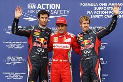 Qualifying parc ferme, Red Bull Racing, 3.; Fernando Alonso, Ferrari, Pole: position; Sebastian Vet
