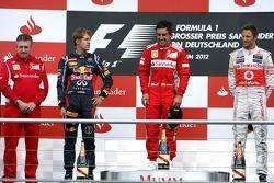 Nick Fry, Chief Executive Officer, Mercedes GP, Sebastian Vettel, Red Bull Racing, Fernando Alonso, Scuderia Ferrari and Jenson Button, McLaren Mercedes