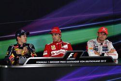 The FIA Press Conference, Sebastian Vettel, Red Bull Racing, second; Fernando Alonso, Ferrari, race
