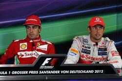 The FIA Press Conference, Fernando Alonso, Scuderia Ferrari, race winner; Jenson Button, McLaren, th
