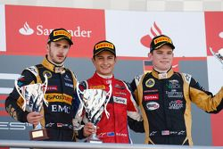 Podium: race winner Mitch Evans, second place Daniel Abt, third place Conor Daly