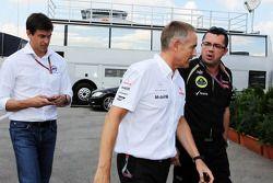 Toto Wolff, Williams NonDirektör; Martin Whitmarsh, McLaren Şef Sorumlusu ve Eric Boullier, Lotus F1