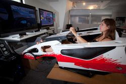 Cyndie Allemann in a racing simulator