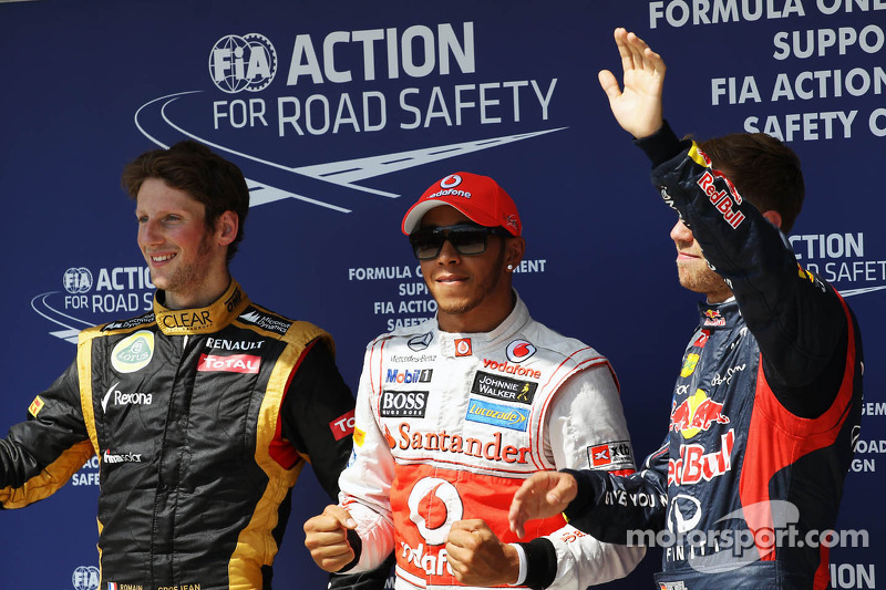 Qualifying parc ferme İlk üç, Lotus F1 Team, 2.; Lewis Hamilton, McLaren, Pole: position; Sebastian