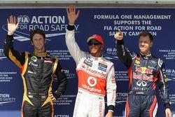 Polepositie Lewis Hamilton, McLaren Mercedes, 2de Romain Grosjean, Lotus Renault F1 Team en 3de Seba