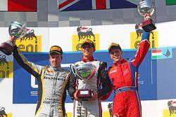 Podium: race winner Max Chilton, second place Davide Valsecchi, third place Luiz Razia