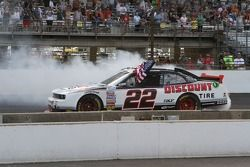 Race winner Brad Keselowski celebrates