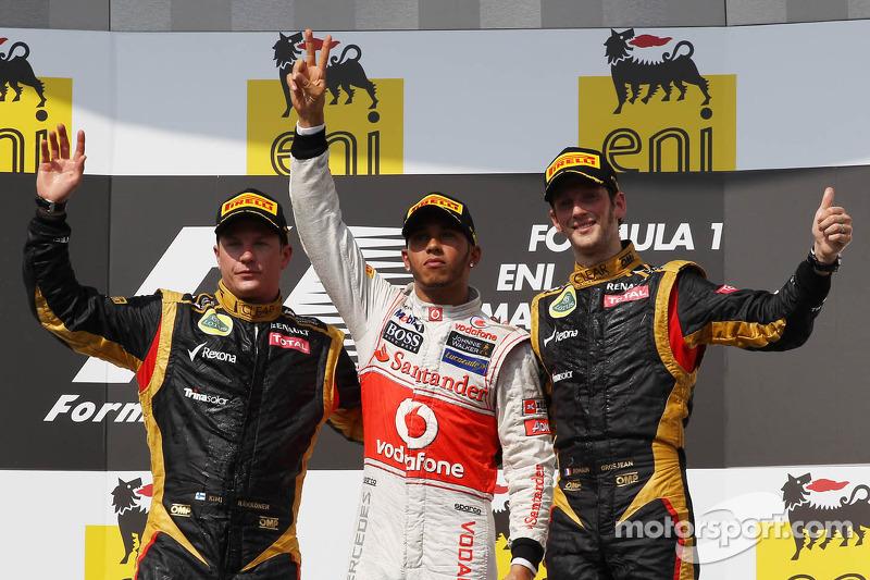 2012: 1. Lewis Hamilton, 2. Kimi Räikkönen, 3. Romain Grosjean
