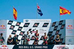 Podium: race winner Casey Stoner, Repsol Honda Team, second place Jorge Lorenzo, Yamaha Factory Raci