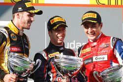 Podium : le vainqueur Antonio Felix da Costa, le deuxième Daniel Abt, le troisième Mitch Evans