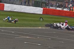 Michel Fabrizio wins as Ayrton Badovini and Jonathan Rea crash on last lap