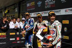 Superpole, From, left:, Leon, Camier,, Jakub, Smrz, and, Sylvain, Guintoli
