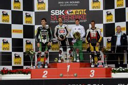 Podium from left: Loris Baz, Sylvain Guintoli and Jakub Smrz