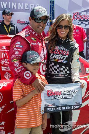 Pole winner Juan Pablo Montoya with his son Sebastien