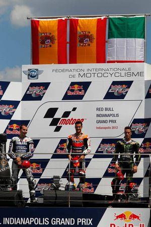 Podio: ganador de la carrera Dani Pedrosa, Repsol Honda Team, segundo lugar Jorge Lorenzo, Yamaha Fa