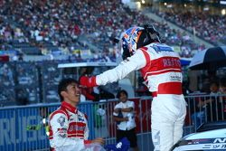 GT500 winners Masataka Yanagida and Ronnie Quintarelli celebrate