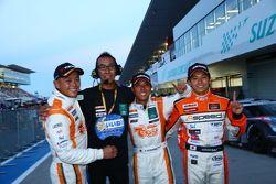 GT300 winners Hiroki Yoshimoto, Kazuki Hoshino and Hiroki Yoshida