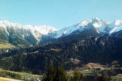A photo taken by Peter Sauber of the Signina group of mountains from his weekend cottage in Switzerl