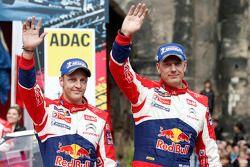 Podium: second place Mikko Hirvonen and Jarmo Lehtinen, Citroën DS3 WRC, Citroën Total World Rally T