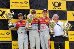 Podium: winnaar Edoardo Mortara, Audi Sport Team Rosberg, 2de Mike Rockenfeller, Audi Sport Team Pho