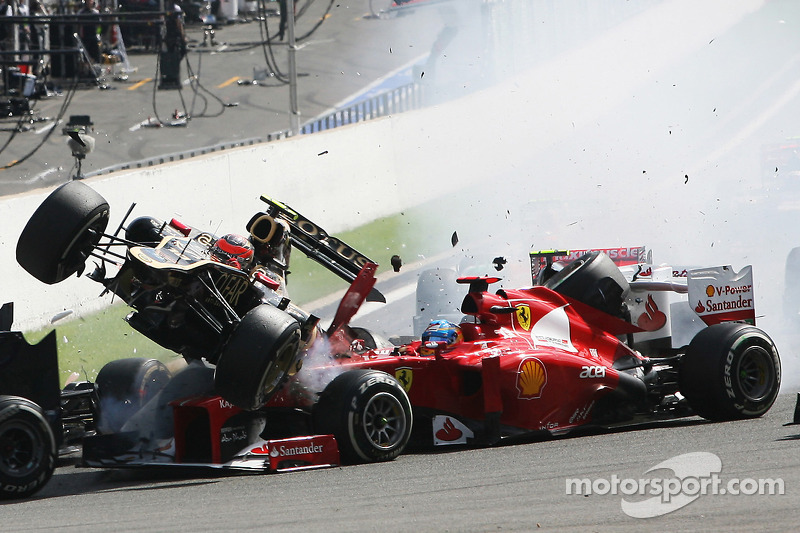 Spa 2012 : accrochage Alonso/Grosjean