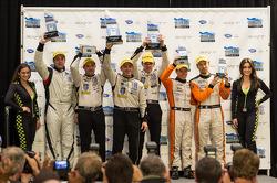 P2 podium: winners Scott Tucker, Christophe Bouchut, second place Ricardo Gonzalez, Luis Diaz, third place Martin Plowman, David Heinemeier Hansson
