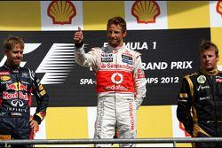 Podium: Sieger Jenson Button, 2. Sebastian Vettel, 3. Kimi Räikkönen