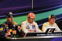 Post carrera Conferencia de prensa FIA, Red Bull Racing, segundo; Jenson Button, McLaren, ganador de