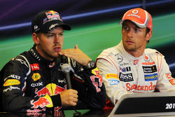 Post carrera Conferencia de prensa FIA, Red Bull Racing, segundo; Ganador de la carrera de Jenson Bu