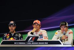 Post carrera Conferencia de prensa FIA, Red Bull Racing, segundo; Jenson Button, McLaren, ganador de