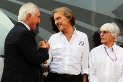 Alberto Bombassei, Brembo CEO with Luca di Montezemolo, Ferrari President and Bernie Ecclestone, CEO Formula One Group