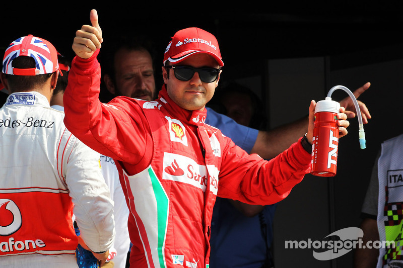 Felipe Massa, Ferrari celebrates his third position in qualifying