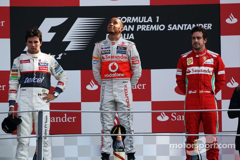 2012: 1. Lewis Hamilton, 2. Sergio Perez, 3. Fernando Alonso