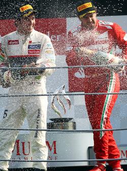 Podium: third place Fernando Alonso, Ferrari, second place Sergio Perez, Sauber