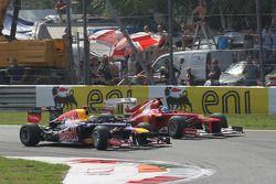 Sebastian Vettel, Red Bull Racing and Fernando Alonso, Scuderia Ferrari