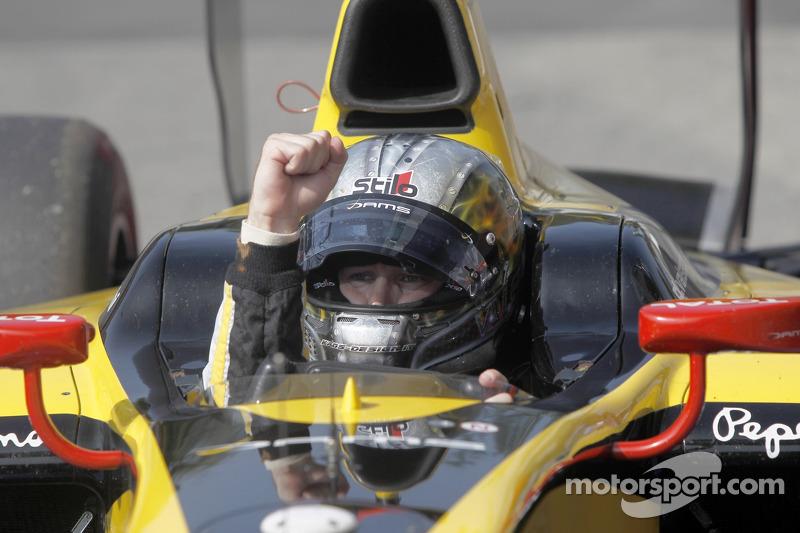 Race winner Davide Valsecchi celebrates