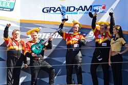 GT podium: winners Dane Cameron, Wayne Nonnamaker celebrate with teammates Will Nonnamaker, Joe Sahlen