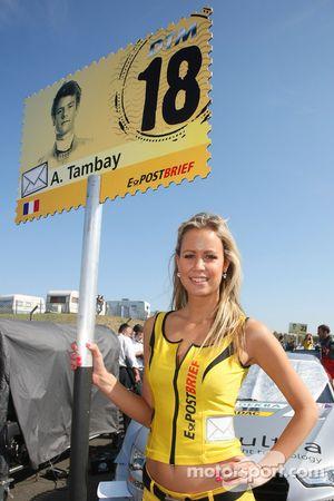 Grid girl of Adrien Tambay, Audi Sport Team Abt Audi A5 DTM